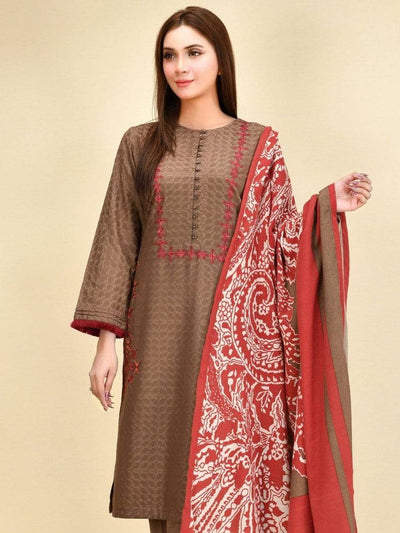 Limelight - Brown Embroidered Self Jacquard Suit - P3772SU