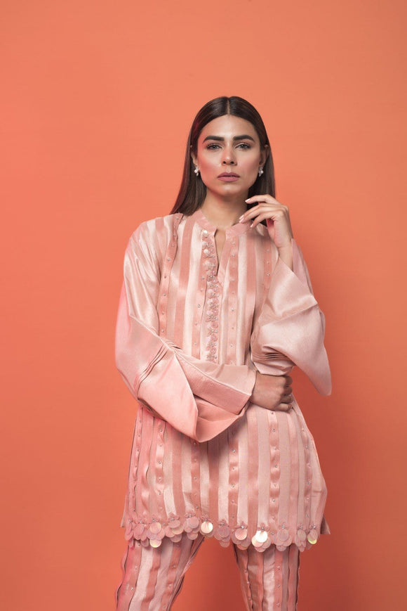 Saleha Kashif - Pink Box Pleated