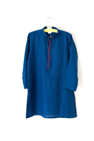 Hummingbirds - Royal Blue Jacquard Kurta