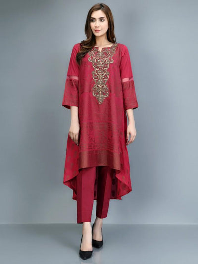 Limelight - Red Embroidered Jacquard Shirt - P1100