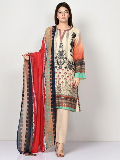 Limelight - Beige Embroidered Lawn Suit - 2 PC - P2390