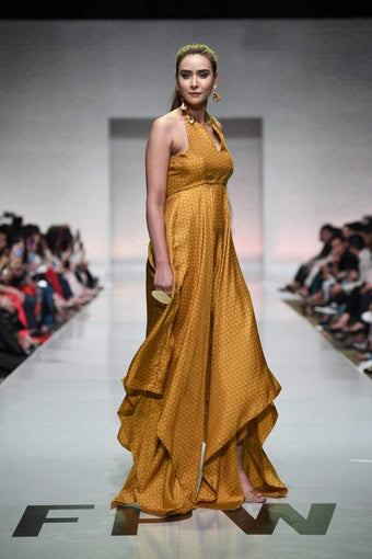 Yasmin Zaman - Mustard Printed Handkerchief Dress With Yoke