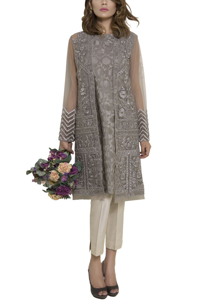 Mahgul - SERENE Hand Embellished Net Jacket With Silk Slip & Raw Silk Pants