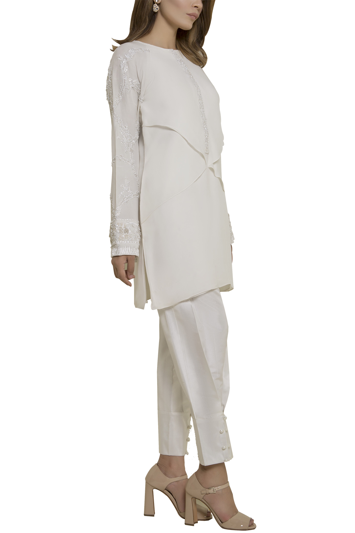 Mahgul - SERENE Embellished Pure Georgette Shirt With Raw Silk Pants