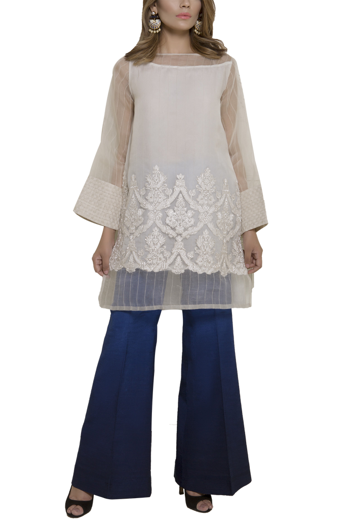 Mahgul - SERENE Embroidered Organza Shirt With Raw Silk Pants