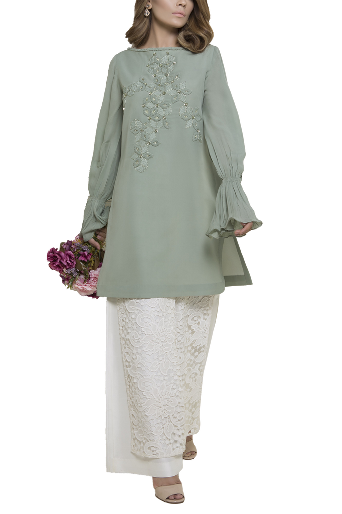 Mahgul - SERENE Hand Embellished Georgette Shirt With Crochet Raw Silk Pants