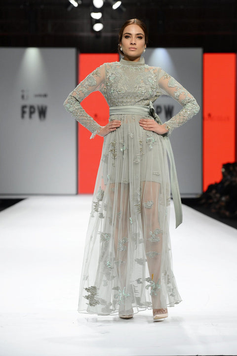 Tena Durrani - Mint Green Edena Embroidered Net Shirt With Silk Inner & Silk Skirt