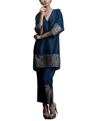 Tena Durrani - Navy Blue Estell Two Piece Raw Silk Suit