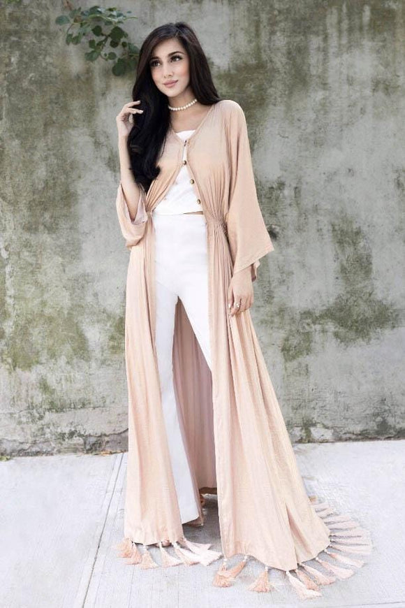 Samaira Ghani - Peach & White Kaftan With Slip & Bell Bottoms
