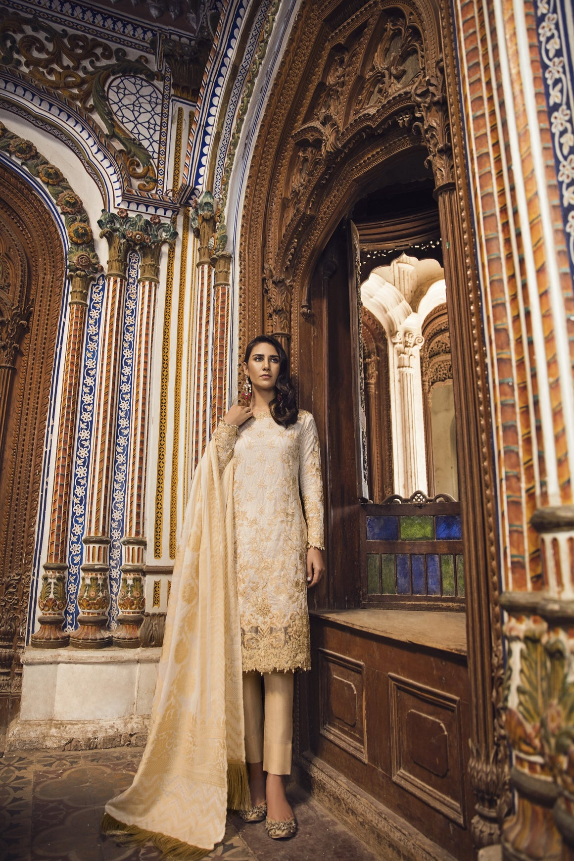 Alkaram Studio - Beige 3 Piece Embroidered Jacquard Collection