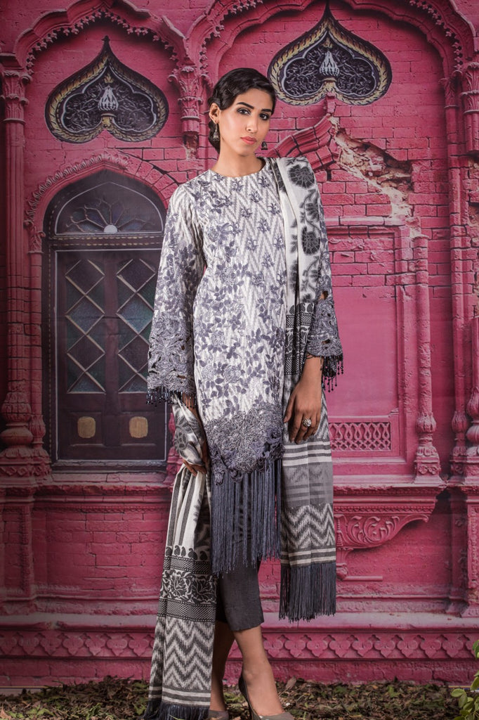 Alkaram Studio - Grey 3 Piece Embroidered Jacquard Collection