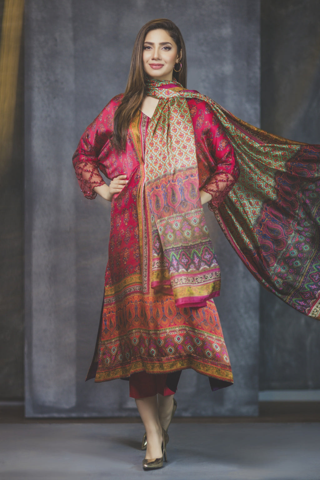 Alkaram Studio - Sephora Digital Print Silk Shirt & Trousers With Silk Dupatta