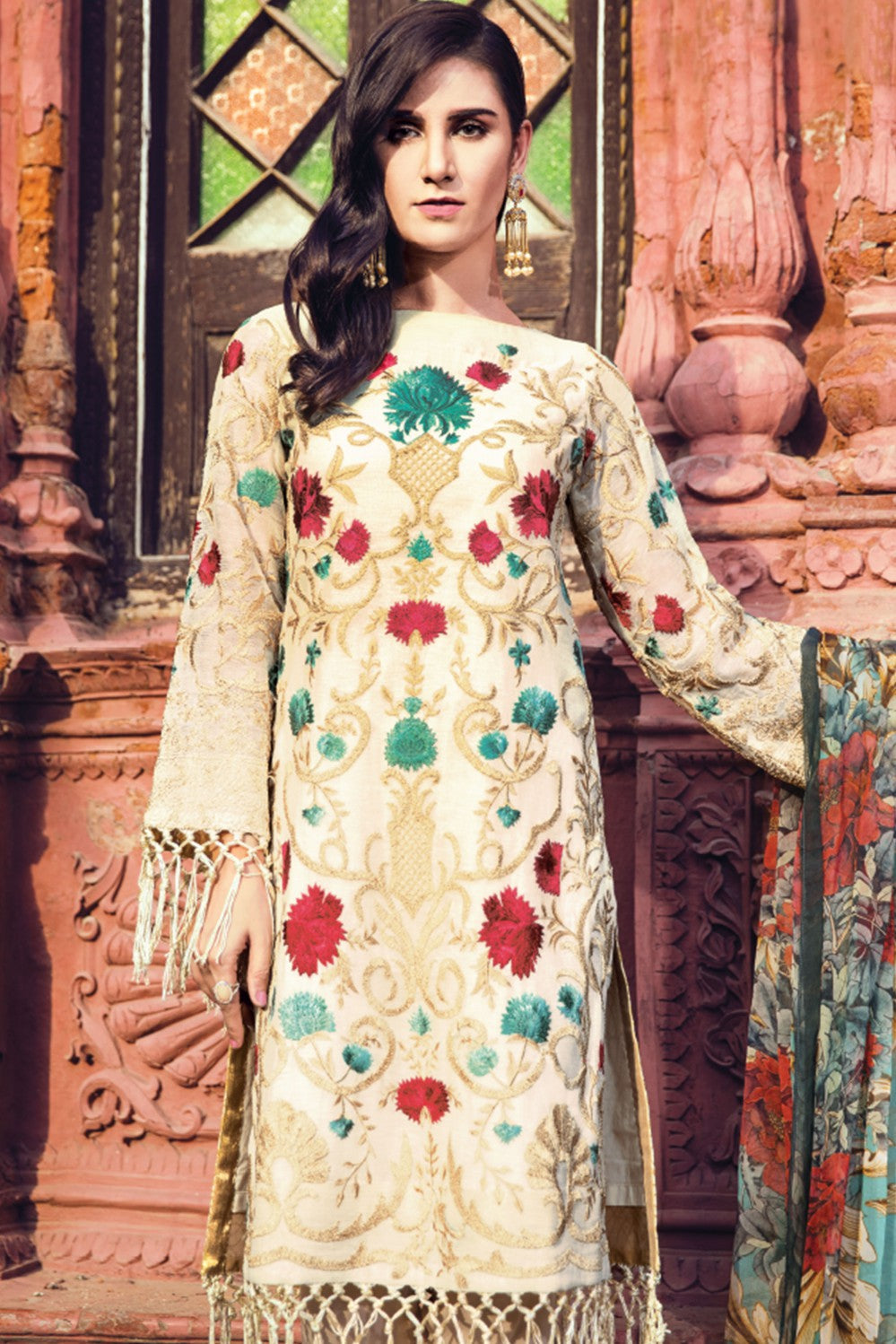 Alkaram Studio - Beige 3 Piece Embroidered Cotton Net Collection