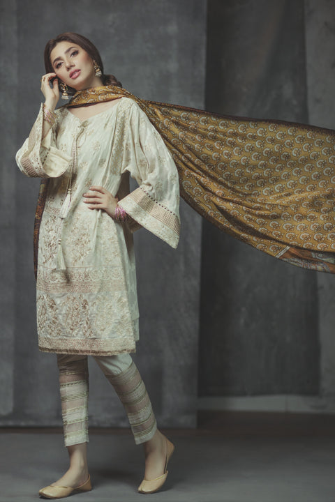Alkaram Studio - Drizzling Gold Off White Jacquard Shirt & Trousers With Silk Dupatta
