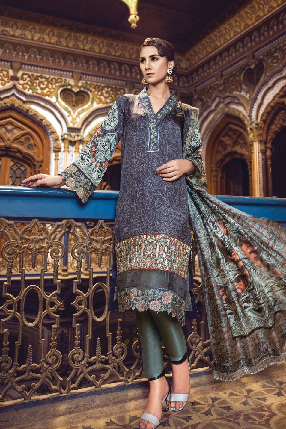 Alkaram Studio - Blue 3 Piece Embroidered Silk Collection Clearance Sale