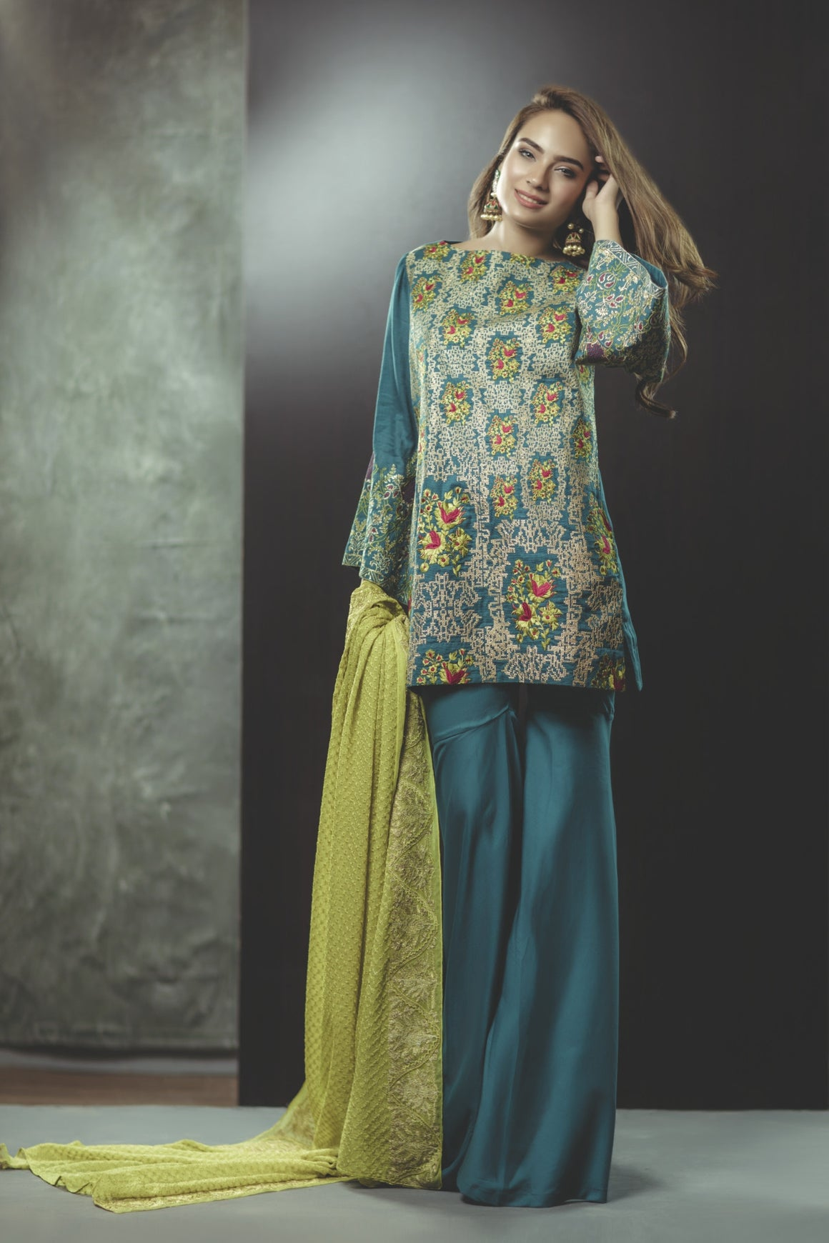 Alkaram Studio - Citron Teal Cotton Net Shirt & Trousers With Chiffon Dupatta Clearance Sale