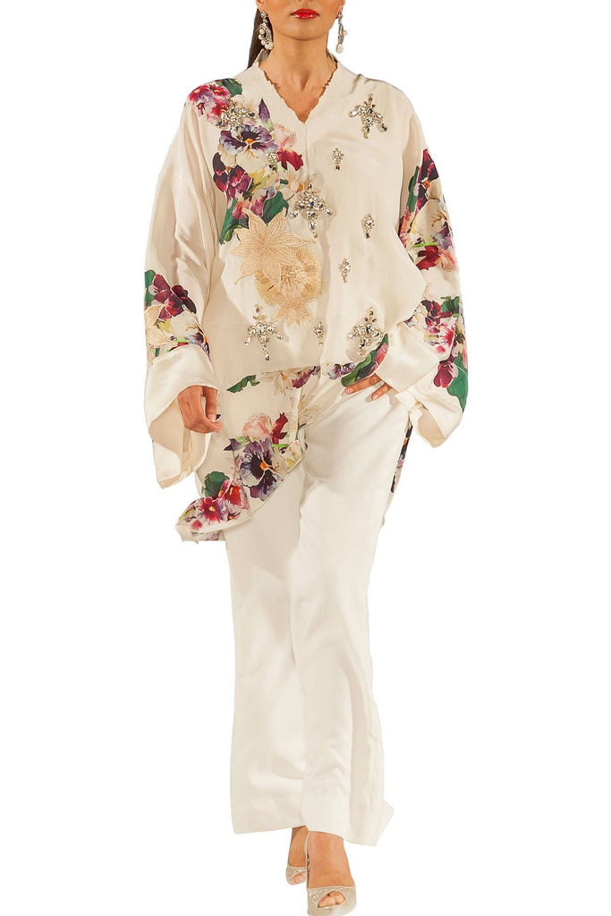 Shamaeel - Hand Embroidered Silk Crepe Kaftan