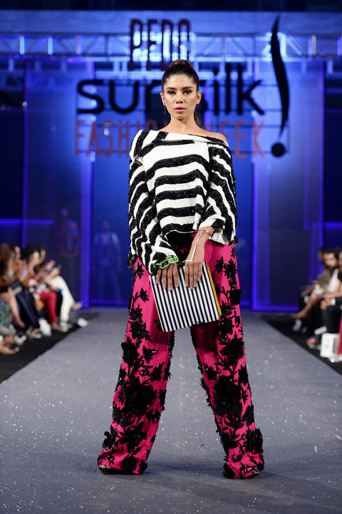 HSY - Fresh Off The Runway - Black & White Asymmetric Off Shoulder Raw Silk Top