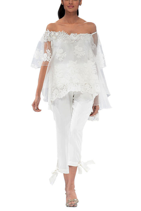 Deepak Perwani - Off-Shore White Off Shoulder Lace Top With Linen Pants