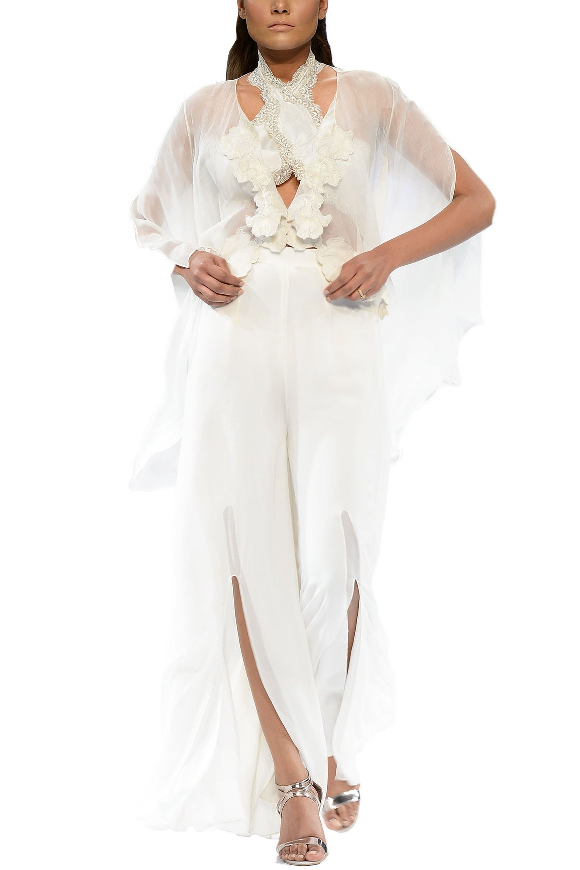 Deepak Perwani - White River Chiffon Cape With Camisole & Trouser