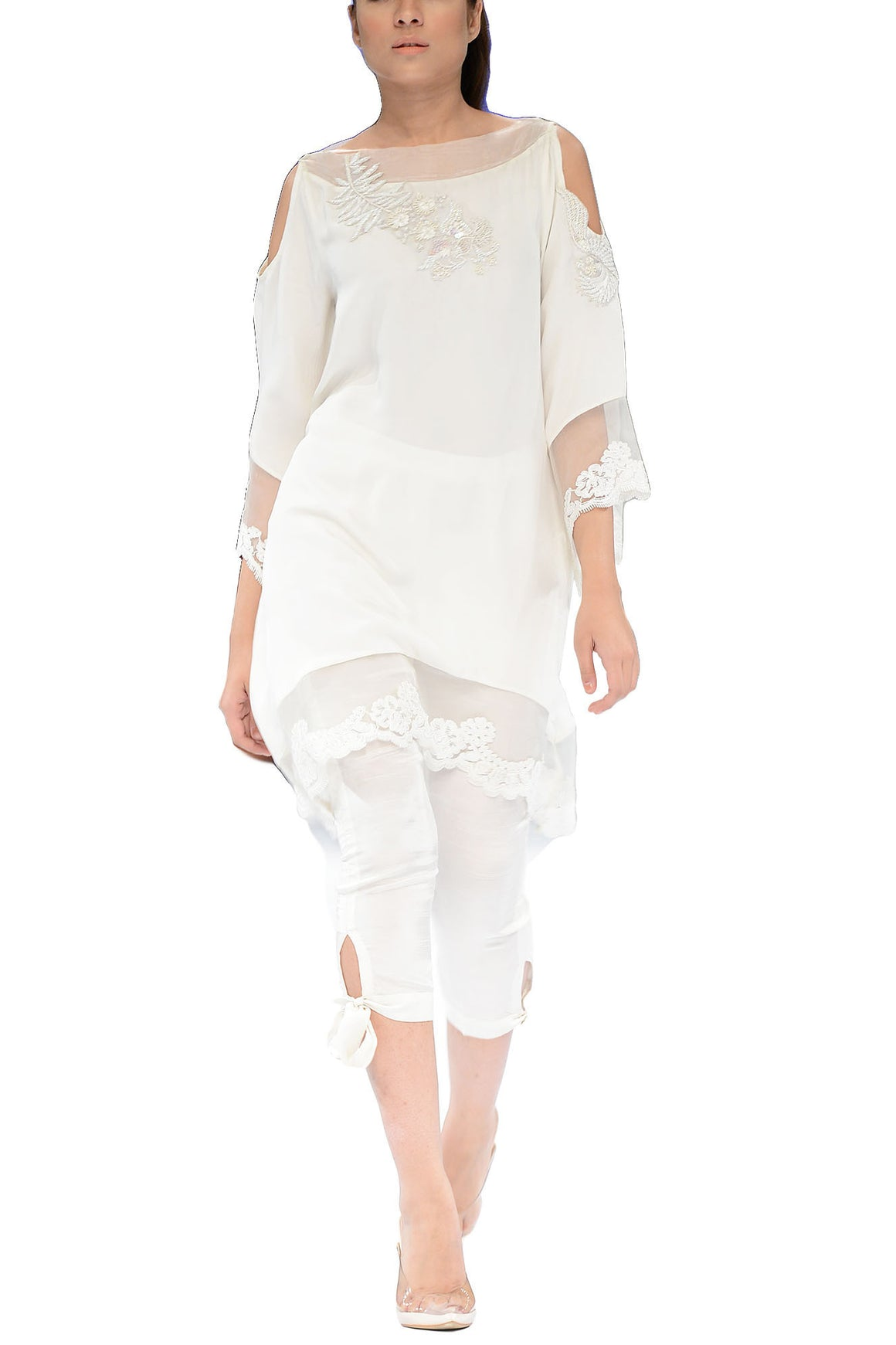 Deepak Perwani - Snowflake White Cotton Silk Shirt With Cotton Silk Capri