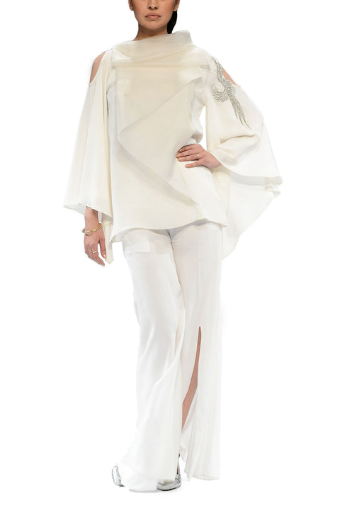 Deepak Perwani - Alvino White Georgette Top With Linen Palazzo