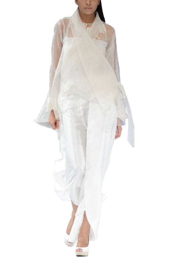 Deepak Perwani - Sheer White Organza Cape With Camisole & Palazzo