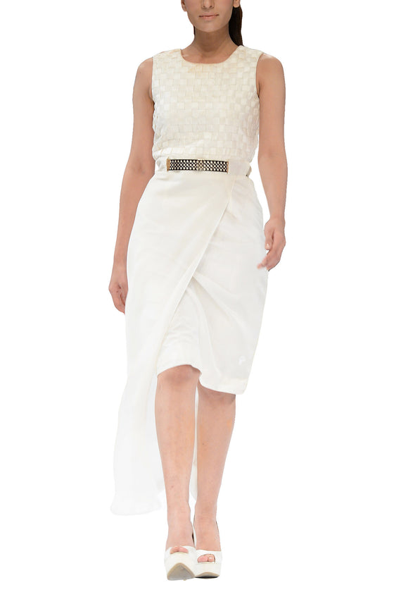 Deepak Perwani - Procelain White Raw Silk Dress With Chiffon Layer