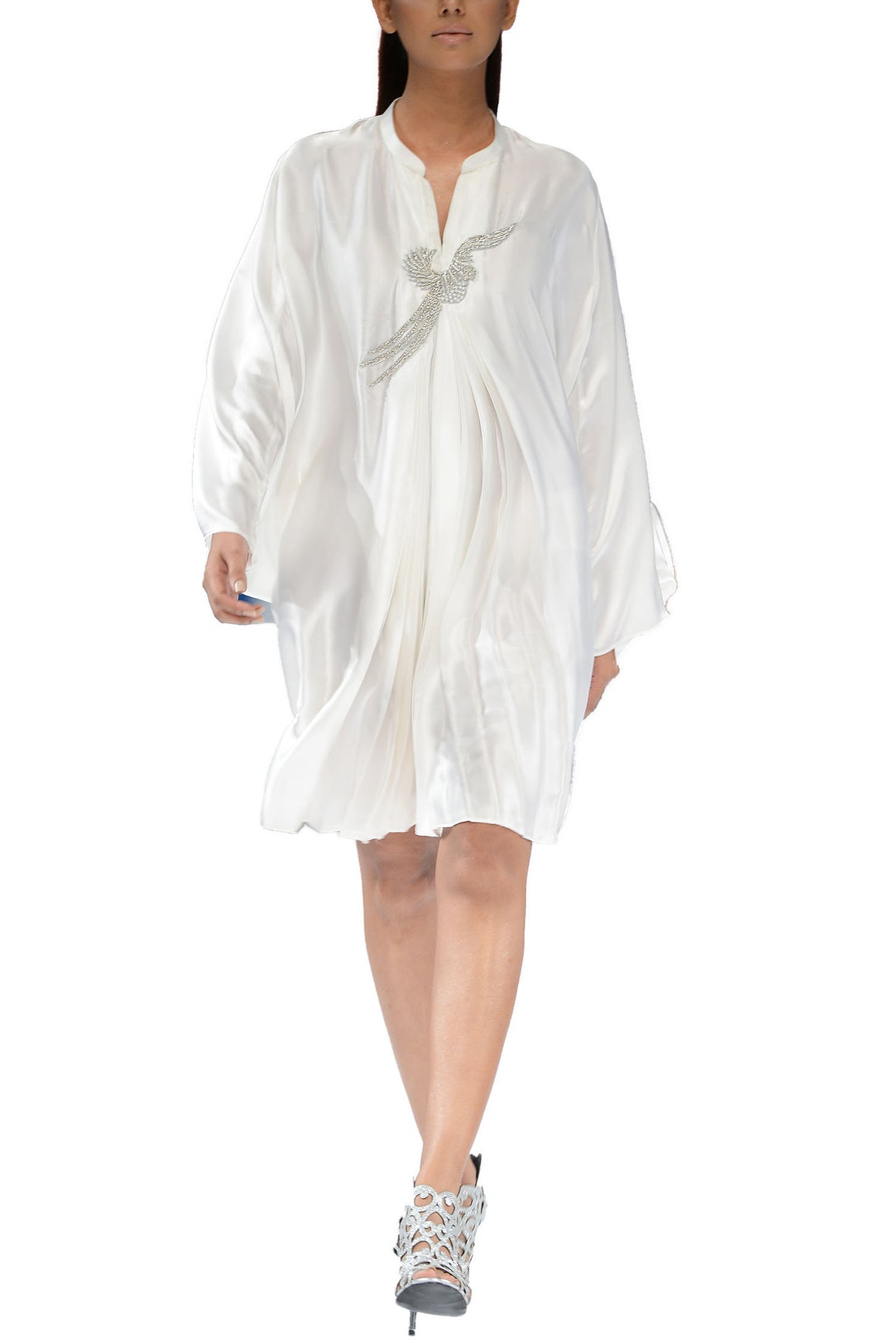 Deepak Perwani - Ivory-like White Charmeuse Pleated Dress With Bird Motif