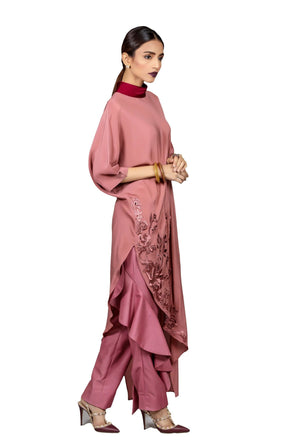 Tena Durrani - Meg Crepe Shirt With Cutwork Embroidered Hem & Raw Silk Pants
