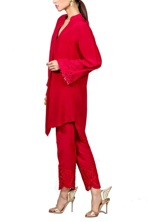 Tena Durrani - Audrey Pink Crepe Shirt With Raw Silk Pants