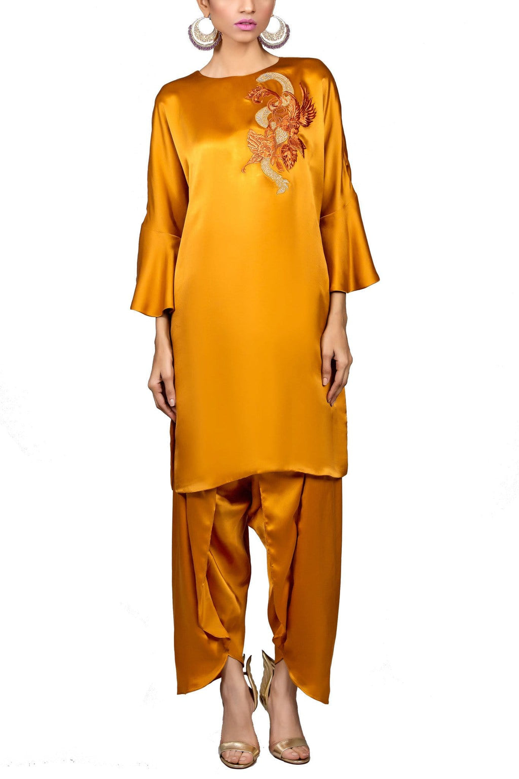 Tena Durrani - Kate Rust Charmeuse Loose Fit Shirt With Tulip Shalwar