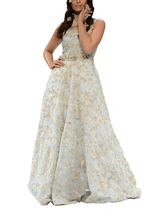 OFF FPW RUNWAY FnkAsia - Light Blue Silk Organza Gown With 3D Embroidered