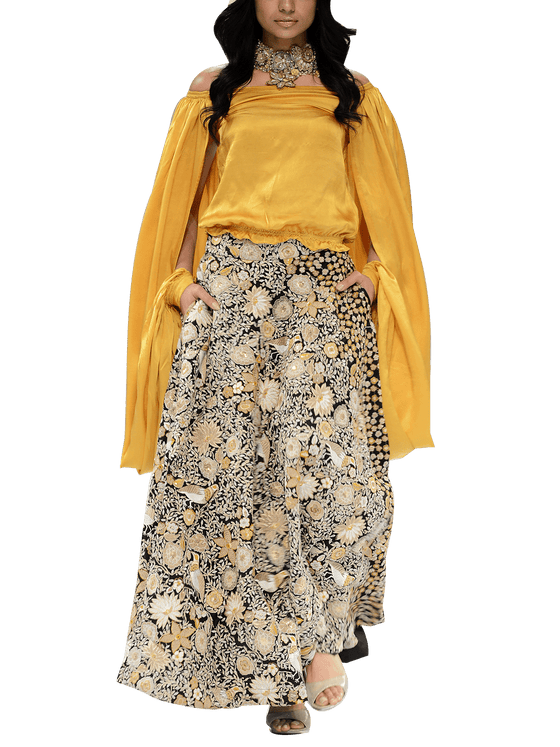 OFF FPW RUNWAY FnkAsia - Black & Mustard Off-Shoulder Silk Top With Embellished Skirt