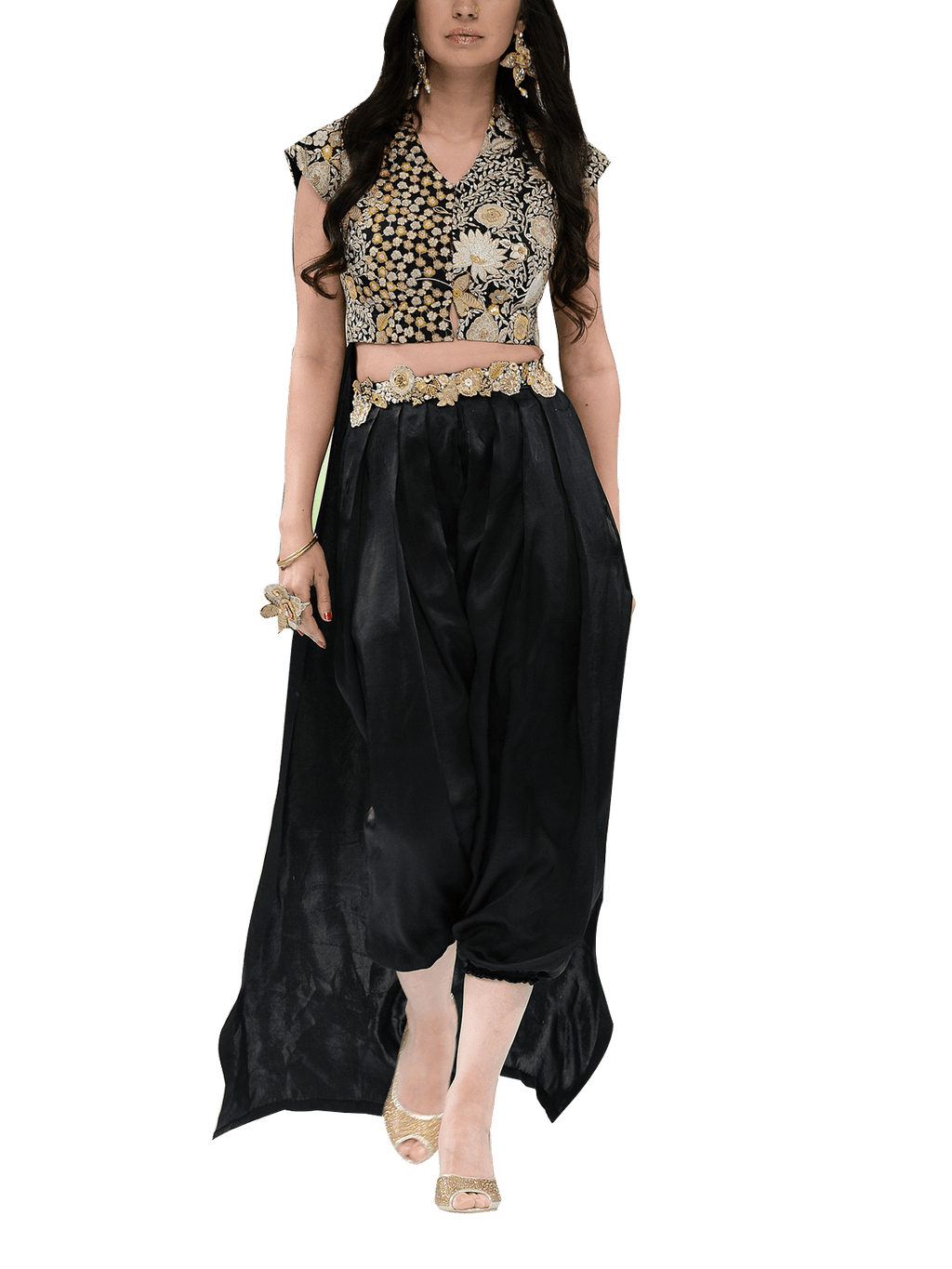 OFF FPW RUNWAY FnkAsia - Black Embroidered Silk Back Trail Blouse With Harem Pants