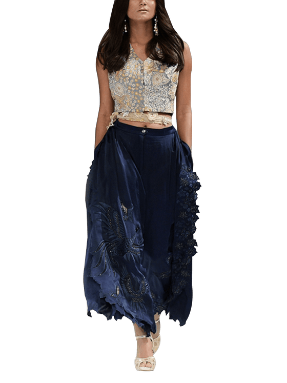 OFF FPW RUNWAY FnkAsia - Blue & Grey Embroidered Silk Blouse With Broad Silk Pants