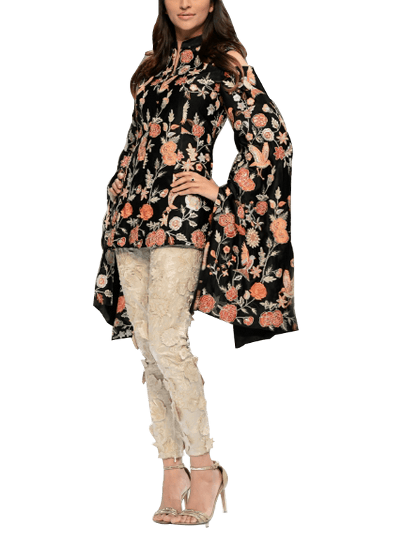 FnkAsia - Black & Beige Silk Embroidered Jacket Shirt With Silk Kimono & Pants