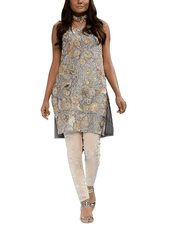 OFF FPW RUNWAY FnkAsia - Grey & Pink Silk Embroidered Straight Shirt With Silk Pants