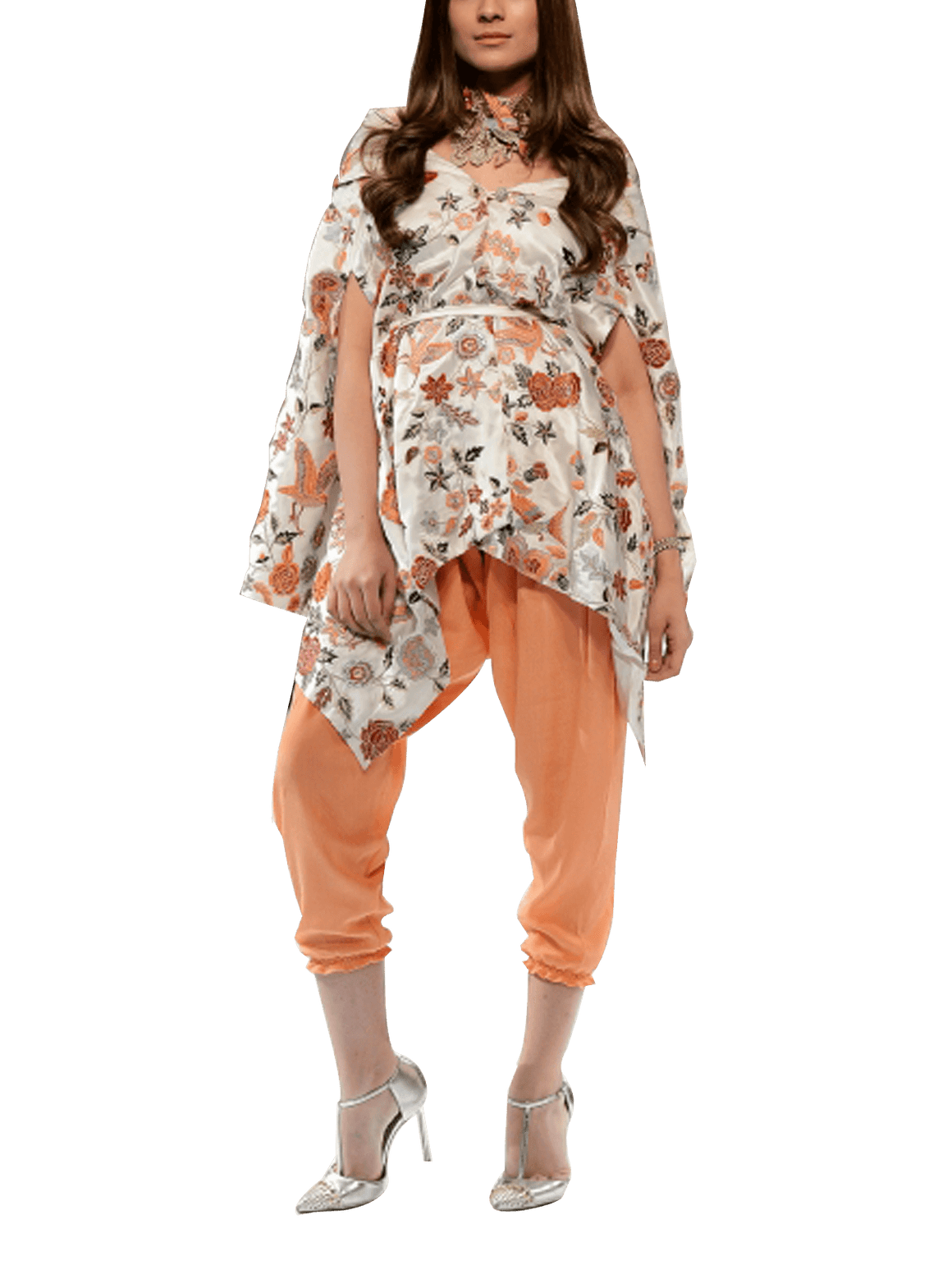 OFF FPW RUNWAY FnkAsia - White & Peach Avian Inspired Off Shoulder Silk Top With Silk Shalwar