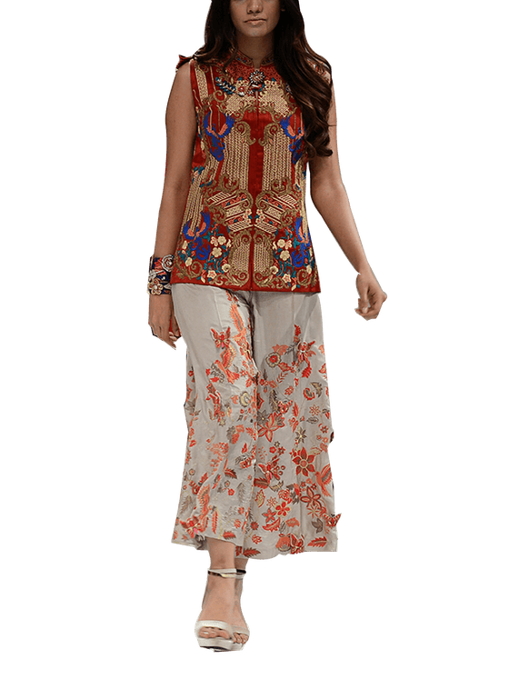 OFF FPW RUNWAY FnkAsia - Red & Beige Embroidered Sleeveless Silk Jacket With Palazzo