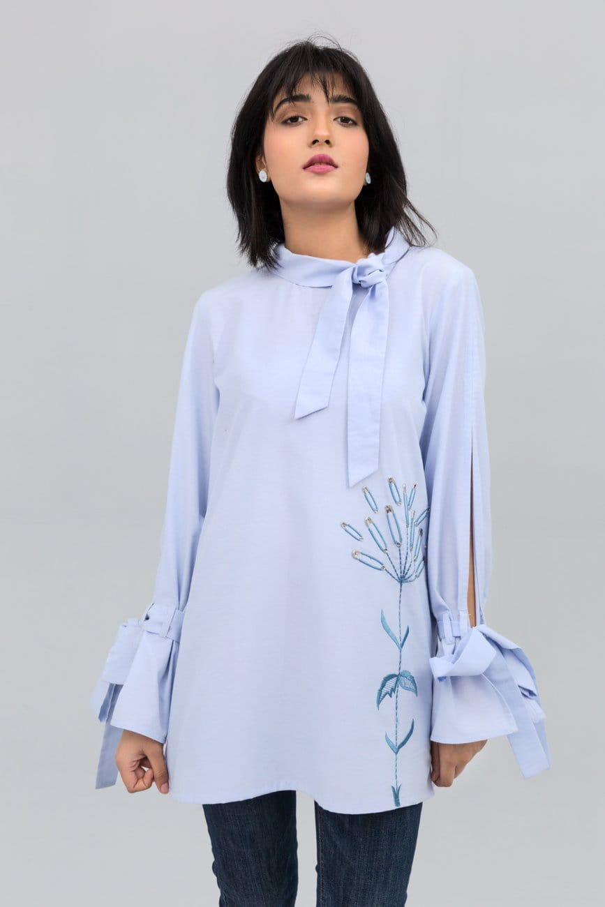 YES - Light Blue Open Sleeve Shirt With Experimental Embroidery on Cotton Rich
