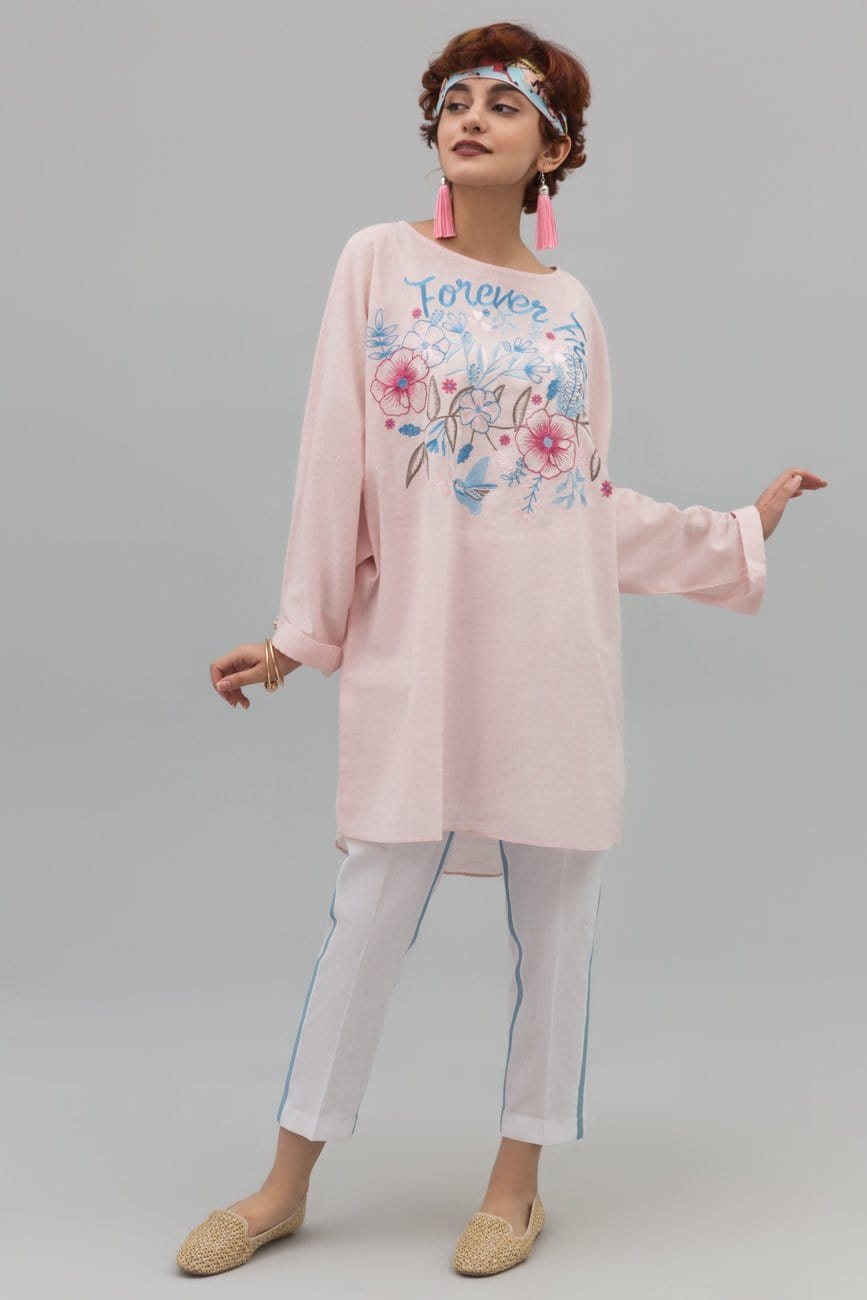 Yesonline.Pk - Pink Baggy Shirt with Experimental Embroidery on Cotton