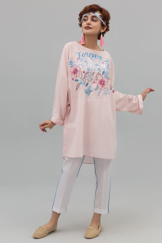 YES - Pink Baggy Shirt with Experimental Embroidery on Cotton