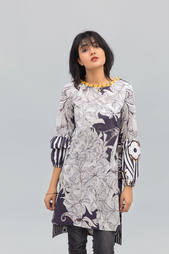 Yesonline.Pk - Gray Bee Fusion Printed Shirt in 100% Cotton
