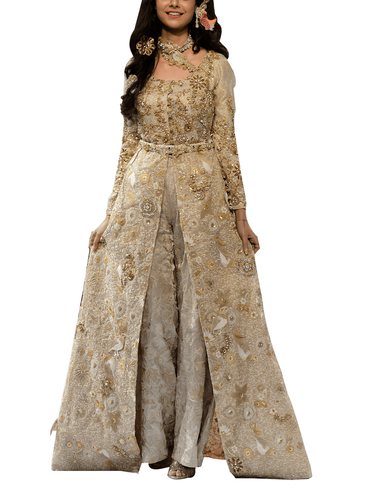 OFF FPW RUNWAY FnkAsia - Gold Woven Silk Long Embellished Gown