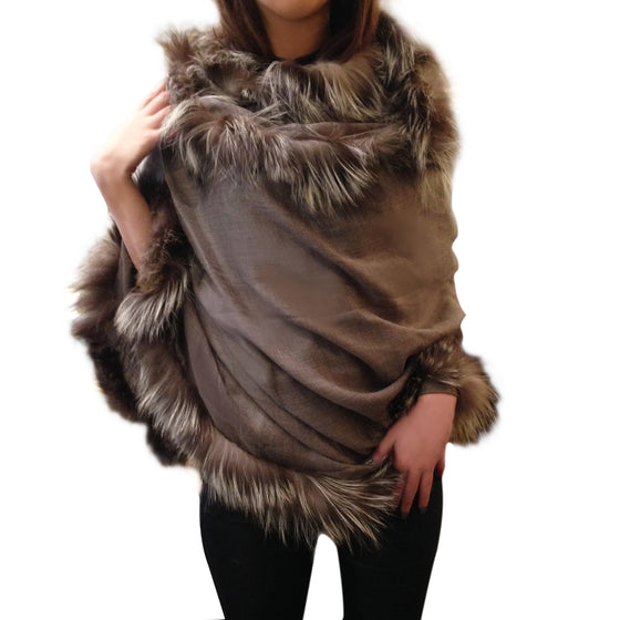Amishi - Fox Silver Luxurious Cashmere & Fur Trimmed Scarf