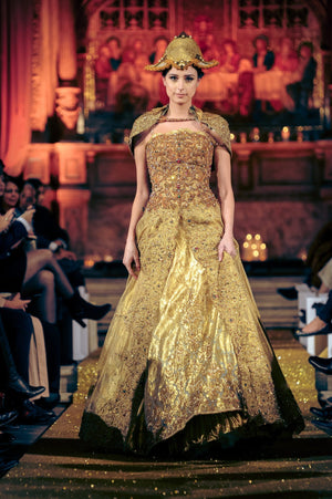 Nilofer Shahid - Honey Gold Top Embellished With Kimkhab Shaded Skirt