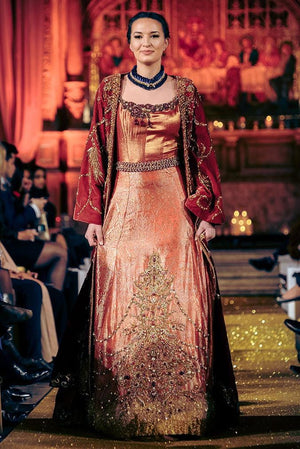 Nilofer Shahid - Aurora & Gold Shaded Velvet Jacket With Coral Red Khimkhab