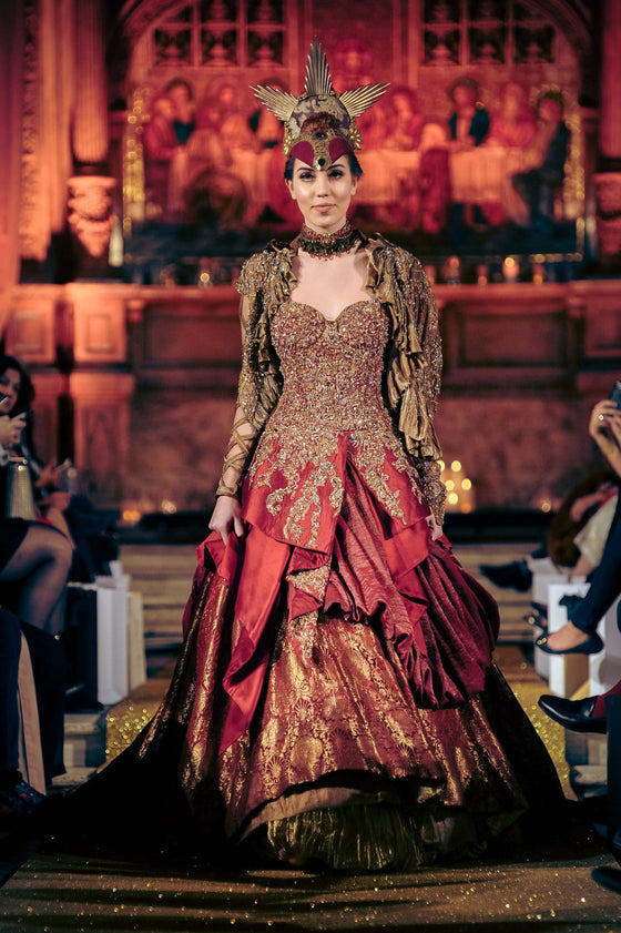 Nilofer Shahid - Crimson & Gold Fully Embellished Tissue Jacket With Lining & Khimkhab