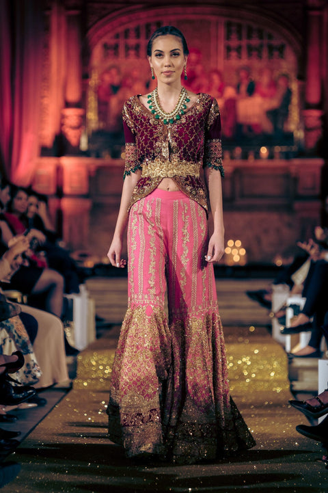 Tena Durrani - Red Embellished Velvet Jacket With Choli & Heavily Embellished  Gharara